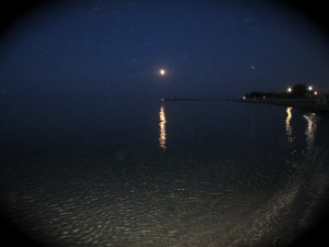 Reflection of Full Moon on Lake Michigan, Chicago